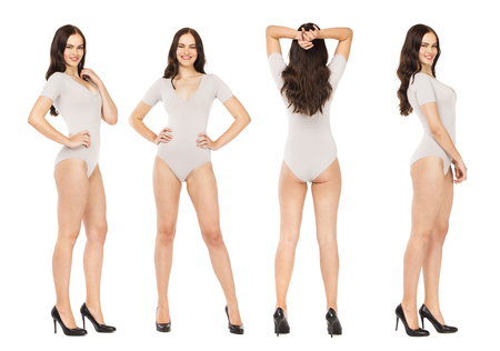 Collage, Happy beautiful brunette women in gray fitness body clothing, isolated on white background