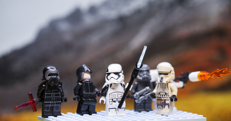 RUSSIAN, April 01, 2018. Lego star wars clone troopers army. Lego minifigures are manufactured by The Lego Group. Kylo Ren and the Storm?roopers Team Editorial