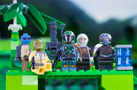 RUSSIAN, April 03, 2018. Constructor Lego Star Wars. Team of bounty hunters against the background of the jungle Editorial