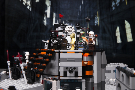 RUSSIAN, April 03, 2018. Constructor Lego Star Wars. Darth Vader and Bounty Hunters  Editorial
