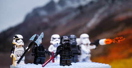 RUSSIAN, April 01, 2018. Lego star wars clone troopers army. Lego minifigures are manufactured by The Lego Group. Kylo Ren and the Storm?roopers Team Publikacyjne