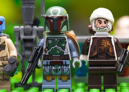 RUSSIAN, April 03, 2018. Constructor Lego Star Wars. Boba Fett and Dengar Bounty Hunter Editorial