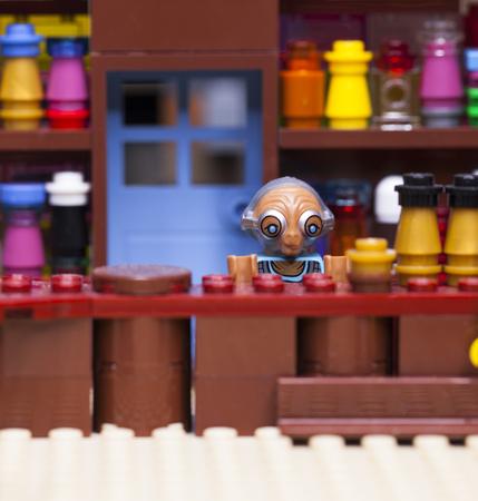 RUSSIA, April 12, 2018. Constructor Lego Star Wars. Episode IV, Luke Skywalker and Obi-Wan Kenobi in bar Mos-Aisli, Tatooine Editorial