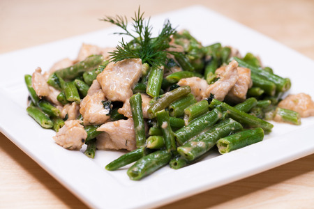 Restaurant dish - roast from turkey and string beans 스톡 콘텐츠