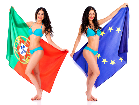 Collage - Two Young beautiful brunette women holding a large flag of Portugal and European, isolated on white background