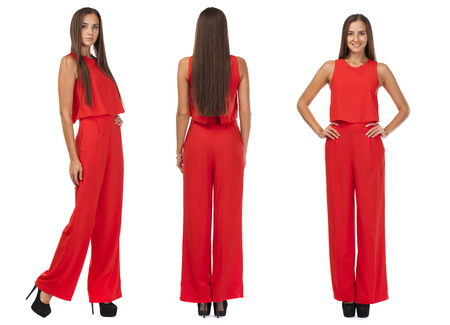 Collage three Young beautiful brunette women in red pantsuit, isolated on white background Stock Photo