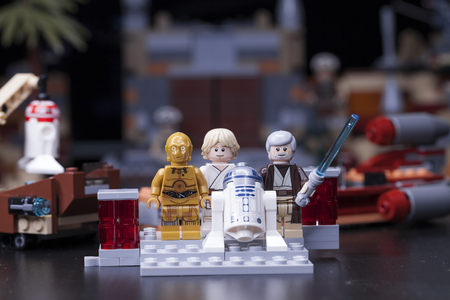 RUSSIA, April 12, 2018. Constructor Lego Star Wars. Episode IV, These arent the droids youre looking for. Fragment from the Obi-Wan Kenobi
