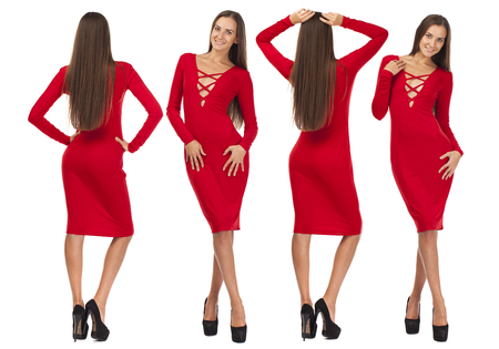 Collage four fashion models. Portrait in full growth of a beautiful young women in red dress, isolated on white background