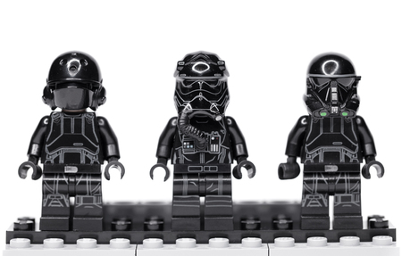 RUSSIA, May 16, 2018. Constructor Lego Star Wars. Black Mini-figures of soldiers of storm troopers from different episodes of the sagas