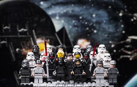 RUSSIA, April 12, 2018. Constructor Lego Star Wars. Episode IV, Squad of stormtroopers