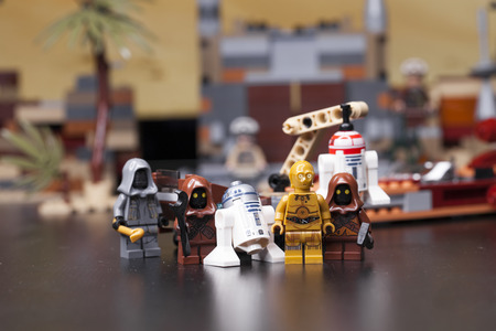 RUSSIA, May 16, 2018. Constructor Lego Star Wars. Episode IV, Protocol Droid C3-PO and astromechanics R2-D2  Editorial