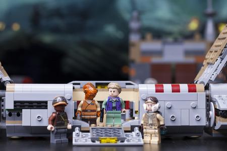 RUSSIA, May 16, 2018. Constructor Lego Star Wars. Episode VII, Princess Leia and General Akbar - mon-kalamari and fleet commander