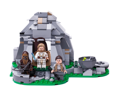 RUSSIA, May 16, 2018. Constructor Lego Star Wars. Mini-figures of the characters Jedi Luke Skywalker, Chewbacca and Ray Editorial