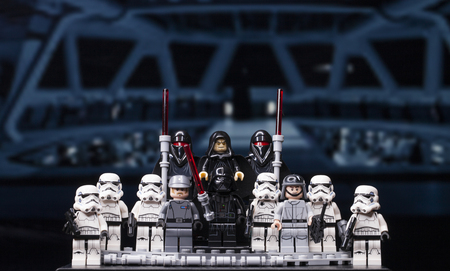 RUSSIA, April 12, 2018. Constructor Lego Star Wars. Darth Vader and a squad of stormtroopers