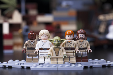 RUSSIA, May 16, 2018. Constructor Lego Star Wars. Jedi, Members of the High Council, Mace Windu, Yoda, Obi-Wan Kenobi, Luke, Qui-Gon Jinn