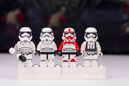 RUSSIA, May 16, 2018. Constructor Lego Star Wars. Mini-figures of soldiers of storm troopers from different episodes of the saga