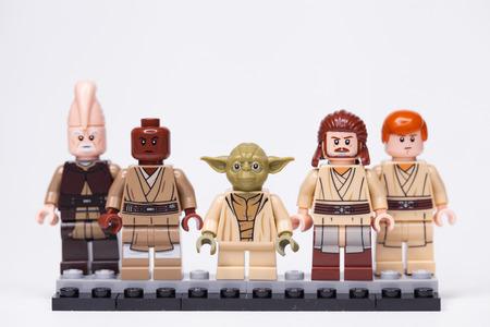RUSSIA, May 16, 2018. Constructor Lego Star Wars. Jedi, Members of the High Council, Mace Windu, Yoda, Obi-Wan Kenobi, Ki-Adi-Mundi, Qui-Gon Jinn