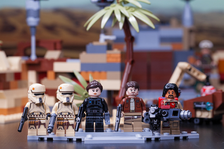 RUSSIA, April 12, 2018. Constructor Lego Star Wars. The main characters of the film - Rogue One 報道画像
