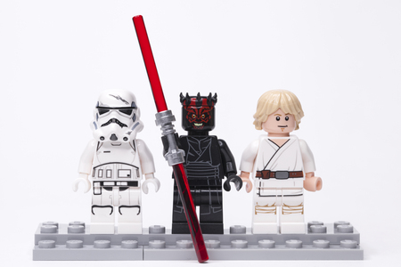 RUSSIA, May 16, 2018. Constructor Lego Star Wars. Darth Maul and Luke Skywalker - Various mini-figures from different episodes of the saga