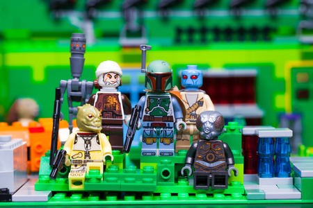 RUSSIAN, April 03, 2018. Constructor Lego Star Wars. Team of bounty hunters against the background of the jungle Sajtókép