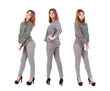 Fashion collage three young girls. Young beautiful models in gray trousers and green shirt, isolated on white background