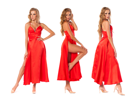 Collage three sexy models. Young beautiful blonde women in red dress, isolated on white background