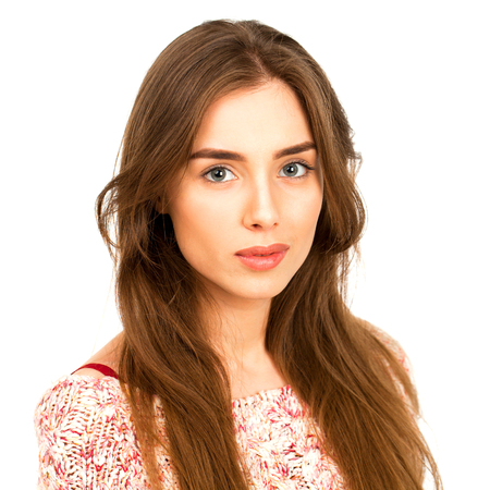 Beautiful Brunette Girl with hairstyle and make up, isolated on white background Stock Photo