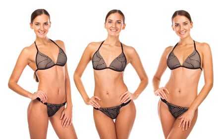 Collage three models. Close up portrait of young girls wearing brown bikini, isolated on white background