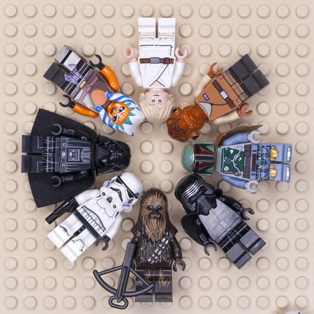 RUSSIAN, SAMARA - JANUARY 24, 2019. LEGO STAR WARS. Minifigures Star Wars Various Characters