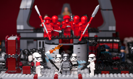 RUSSIAN, SAMARA - February 6, 2019. LEGO STAR WARS. Minifigures Star Wars Characters - Episode 8, Captain Phasma and Squad of stormtroopers