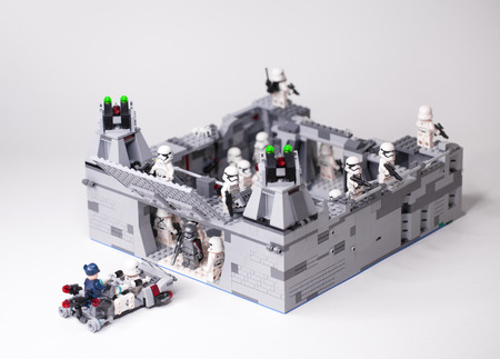 RUSSIAN, SAMARA - February 6, 2019. LEGO STAR WARS. Designer homemade military base stormtroopers of the first orderpisode 8
