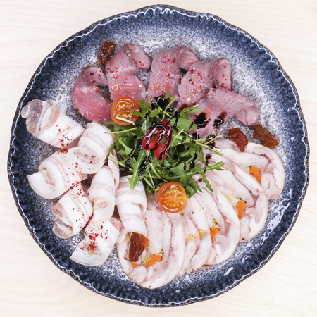 Restaurant dish. Meat platter - a snack under vodka