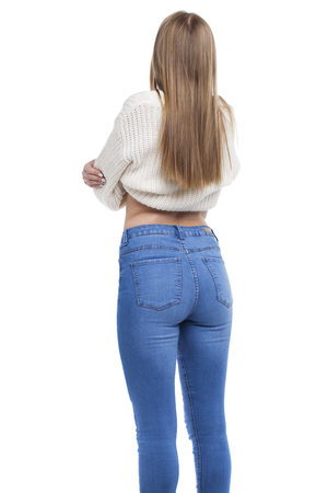 Female Long blonde hair, rear view, isolated on white background