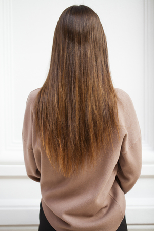 Female long wavy hair, back view, brunette hairstyle, indoor