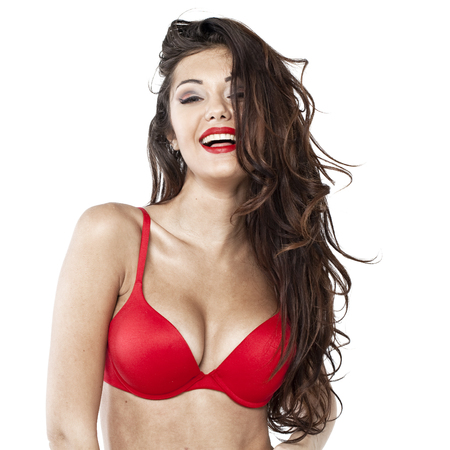 Portrait of sexy woman in red bra