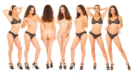 Collage sexy women. Portrait of young brunette with beautiful nude topless breasts and black underwear, isolated on white background Imagens