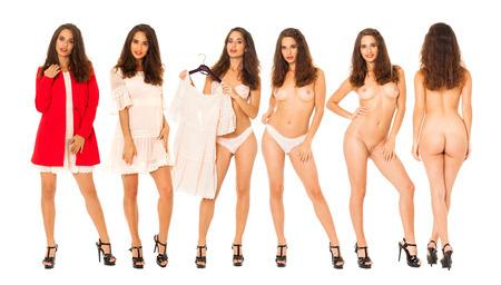 Collage-Frauen. Porträt der jungen Brünette mit schönen Brüsten, isoliert auf weißem Hintergrund