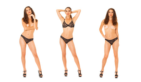 Full portrait of sexy brunette woman in black lingerie, isolated on white background 写真素材