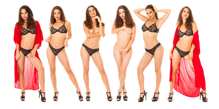 Collage fashion models. Full body portrait of a beautiful brunette women, isolated on white background
