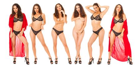 Collage-Mode-Modelle. Ganzkörperporträt einer schönen brünetten Frau, isoliert auf weißem Hintergrund
