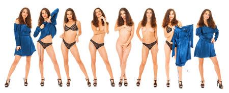 Modelli di moda collage. Ritratto completo del corpo di una bella donna bruna, isolato su sfondo bianco
