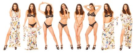 Modelli di moda collage. Ritratto completo del corpo di una bella donna bruna, isolato su sfondo bianco Archivio Fotografico