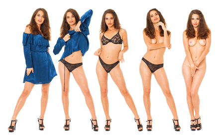 Collage fashion sexy models. Full body portrait of a beautiful brunette women, isolated on white background