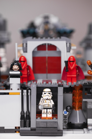 RUSSIA, April 05, 2019. Constructor Lego homemade military base, star wars and a squad of stormtroopers