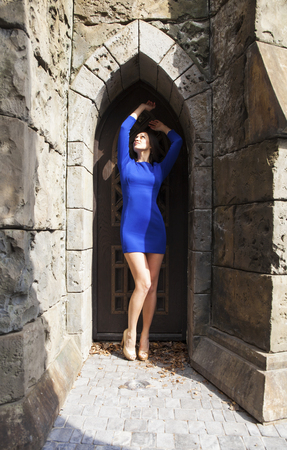 Full-length portrait young beautiful brunette woman in blue dress posing against the backdrop of an old castle in the Gothic style Banque d'images - 120791708
