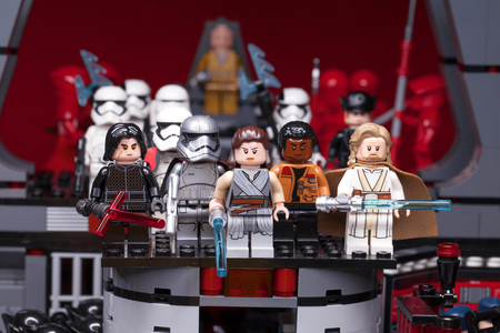RUSSIAN, SAMARA - February 8, 2019. LEGO STAR WARS. Minifigures Star Wars Characters - Episode 8: The Last Jedi. Kylo Ren, Rey, Phasma, Snoke, Hux and Squad of stormtroopers