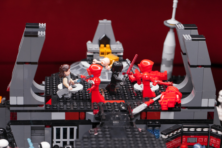 RUSSIAN, SAMARA - February 8, 2019. LEGO STAR WARS. Minifigures Star Wars Characters - Episode 8: The Last Jedi. Elite Preatorian Guard Editorial
