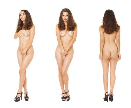 Model Tests Collage. Full portrait of brunette models in black lingerie, isolated on white background