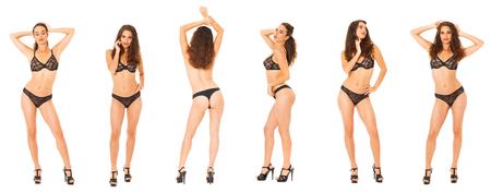 Model Tests Collage. Full portrait of brunette women in black lingerie, isolated on white background