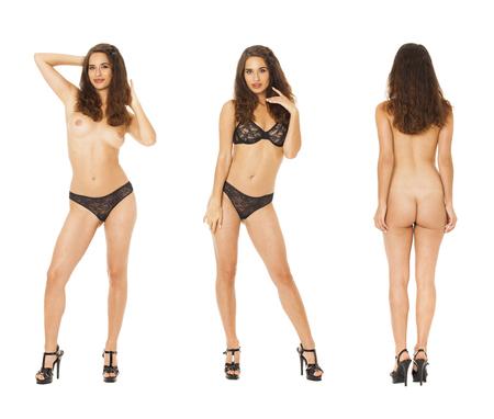 Modelltests Collage. Vollständiges Porträt von brünetten Modellen in schwarzen Dessous, isoliert auf weißem Hintergrund